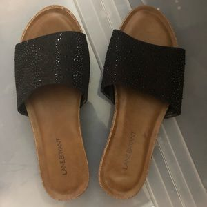 Sandal with black rhinestones